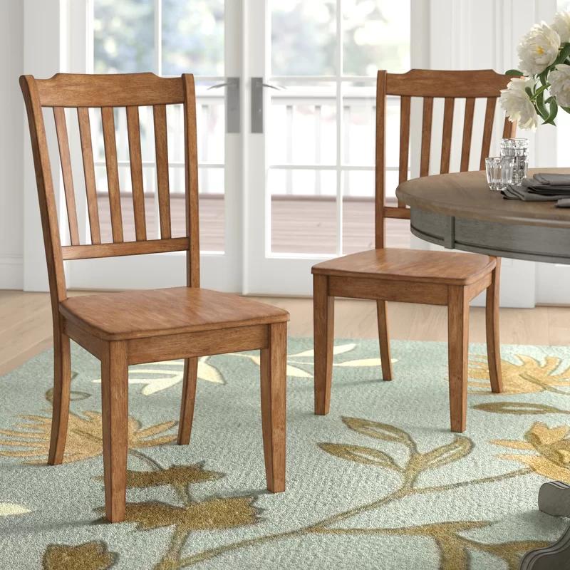 Fortville Solid Wood Slat Back Side Chair In 2021 Dining Chairs Solid Wood Dining Chairs Side Chairs Solid wood dining room chairs