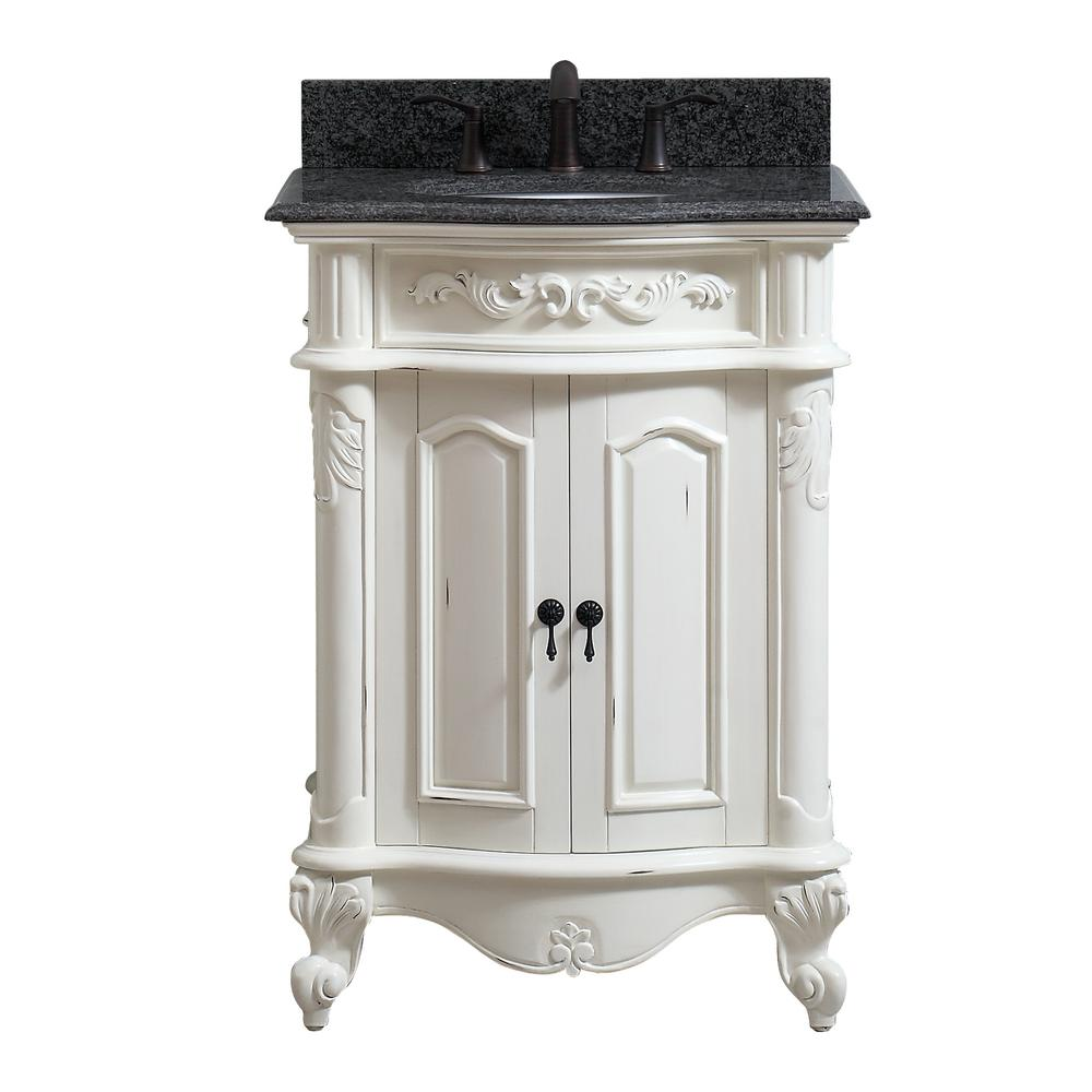 Avanity Provence 25 In W X 22 In D X 35 In H Bath Vanity In Antique White With Granite Vanity Top In Impala Black With Basin Provnce Vs25 Aw White Vanity Bathroom