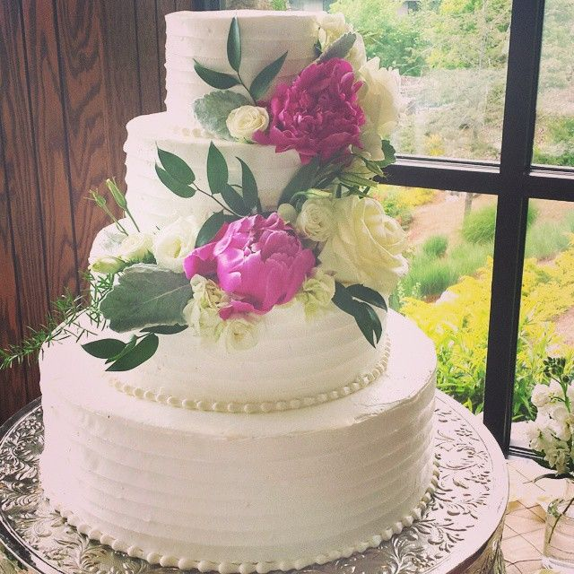 Exceptional Beautiful Rustic Wedding Cake With Striped Buttercream And Vibrant Flowers  By Lindsey Maddox At Sweet Elegance. Asheville, NC