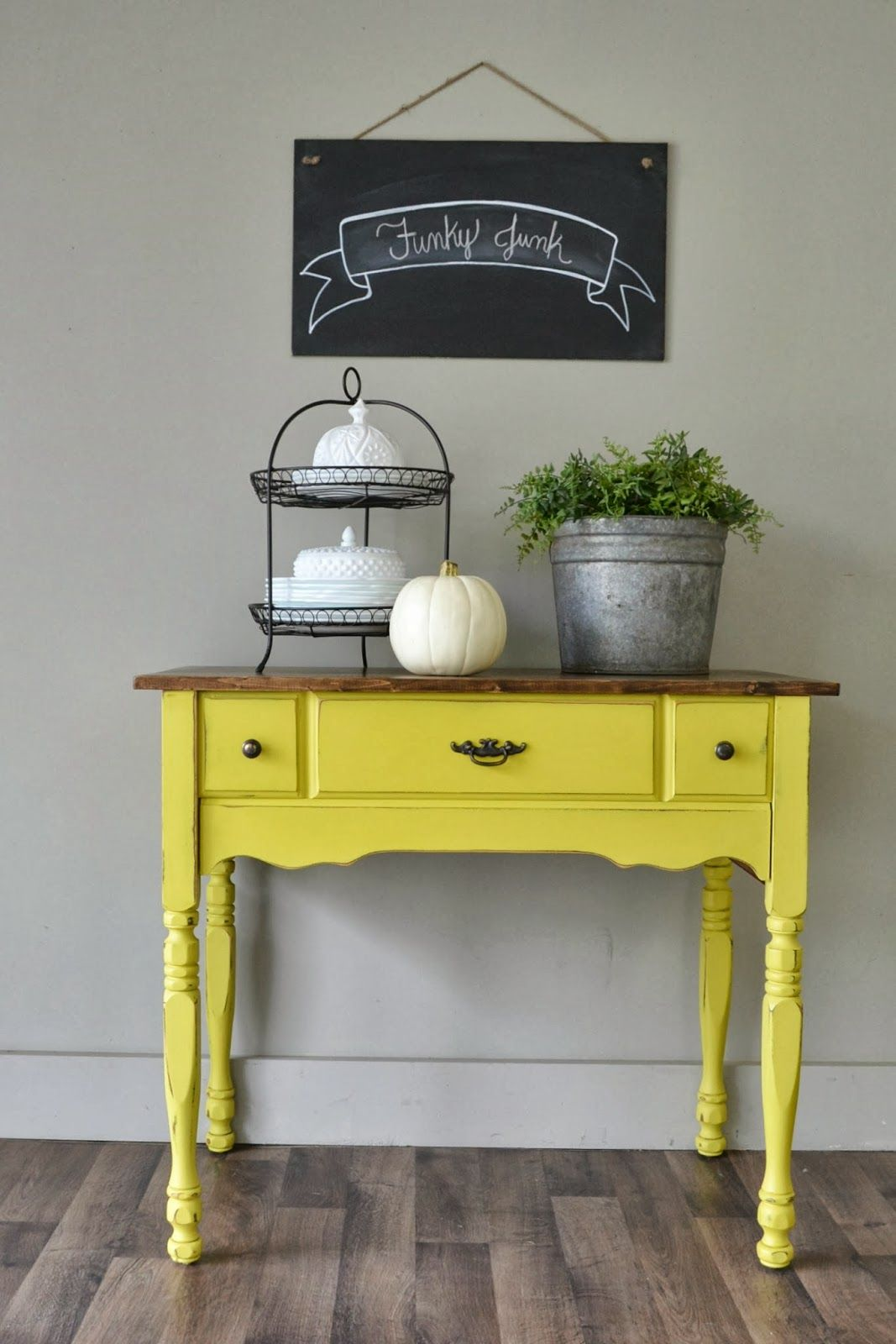 English yellow chalk paint on small buffet table funky junk shop