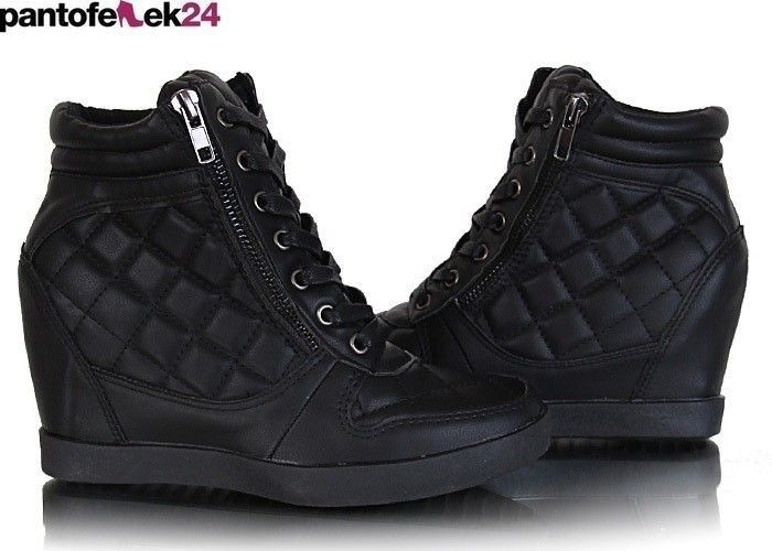 Sneakersy Pikowane Botki Pn3x6 N29 Black Boots All Black Sneakers Perfect Shoes