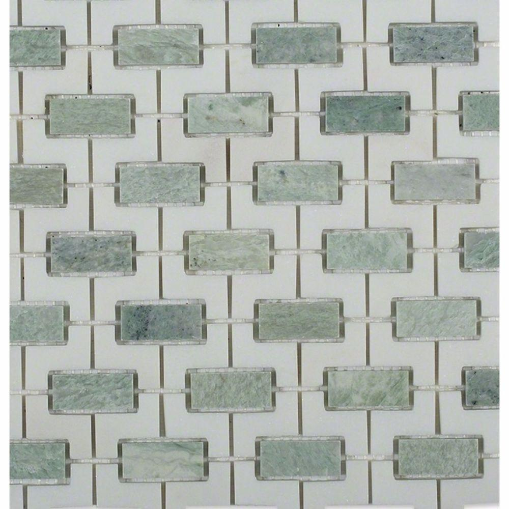 Ivy Hill Tile Rorschack Ming Green And Thassos 12 In X 12 In X 10 Mm Polished Marble Mosaic Tile Ext3rd104890 Marble Mosaic Polished Marble Tiles Marble Mosaic