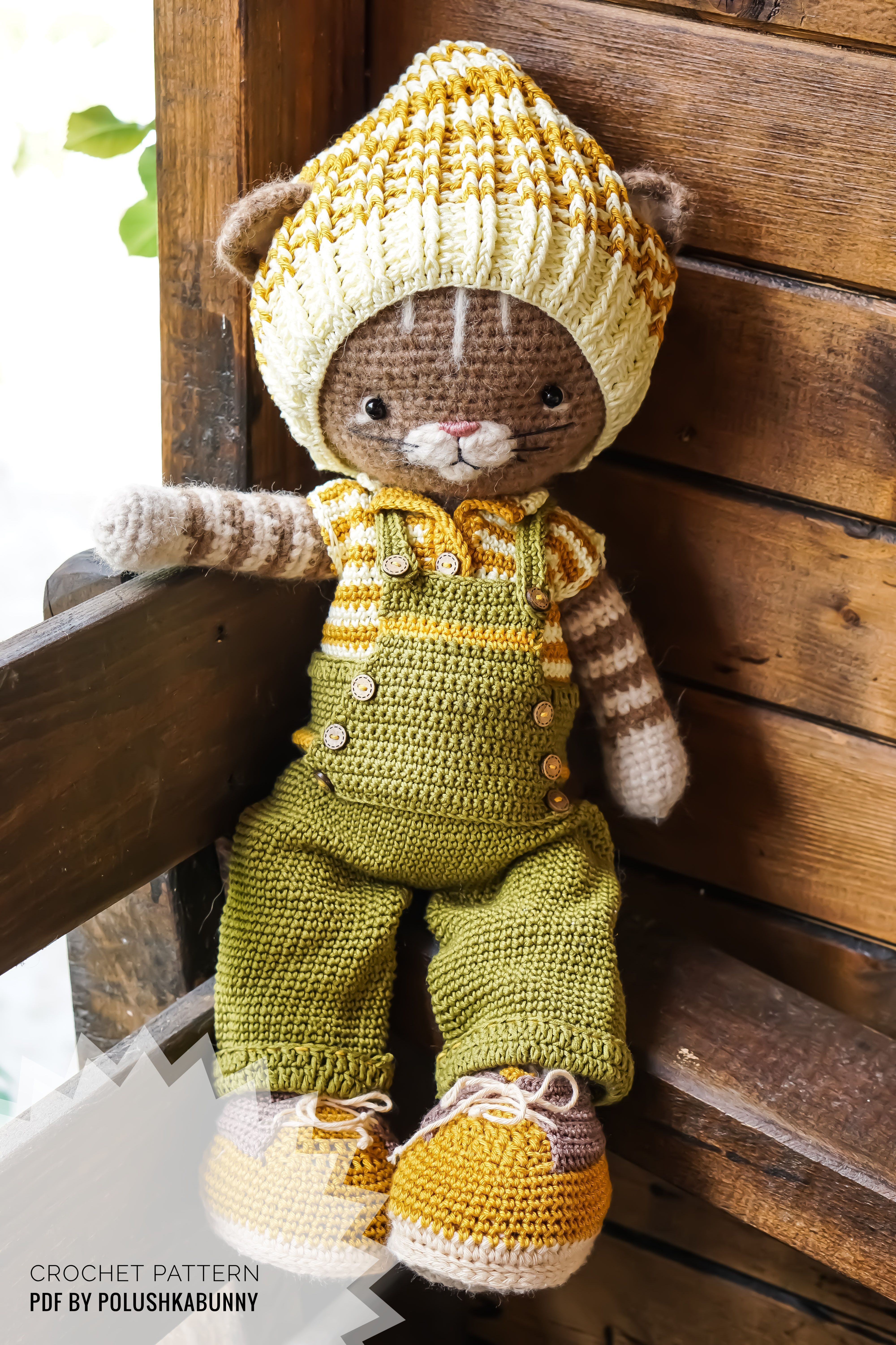 Crochet pattern Farmer Boy Outfit for Cat Toy By PolushkaBunny #crochet #farm #outfit #cat #pattern #stuffed #animal #baby #shower #plush #toy #handmade #diy #craft #amigurumi #doll #costume
