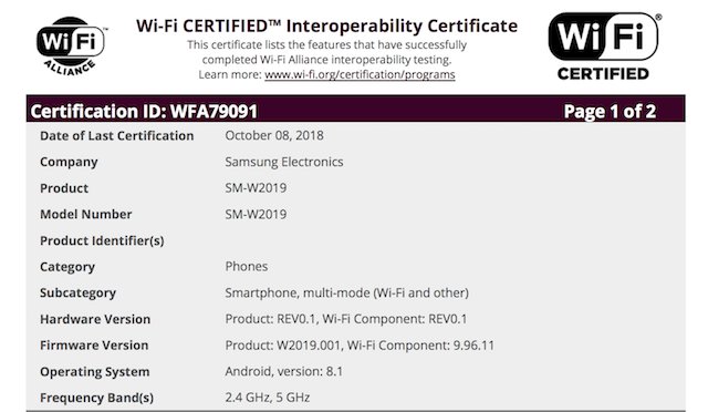 Samsung W2019 flip phone gets certified with Android 8 1