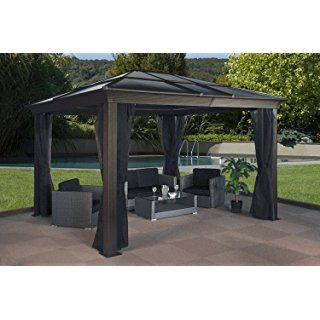 Sojag 500 6153248 8mm 2 Track No 53 Sedona Hard Top Sun Shelter 12 By 14 Dark Brown Gazebo Canopy Hardtop Gazebo Gazebo Pergola