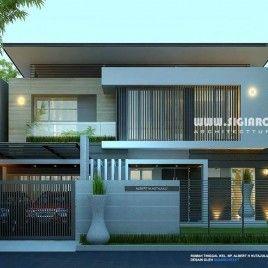 desain rumah sudut minimalis 2 lantai | desain eksterior