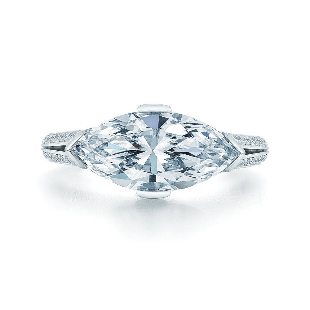 Marquise Diamond Ring In Platinum In A Vintage Style With