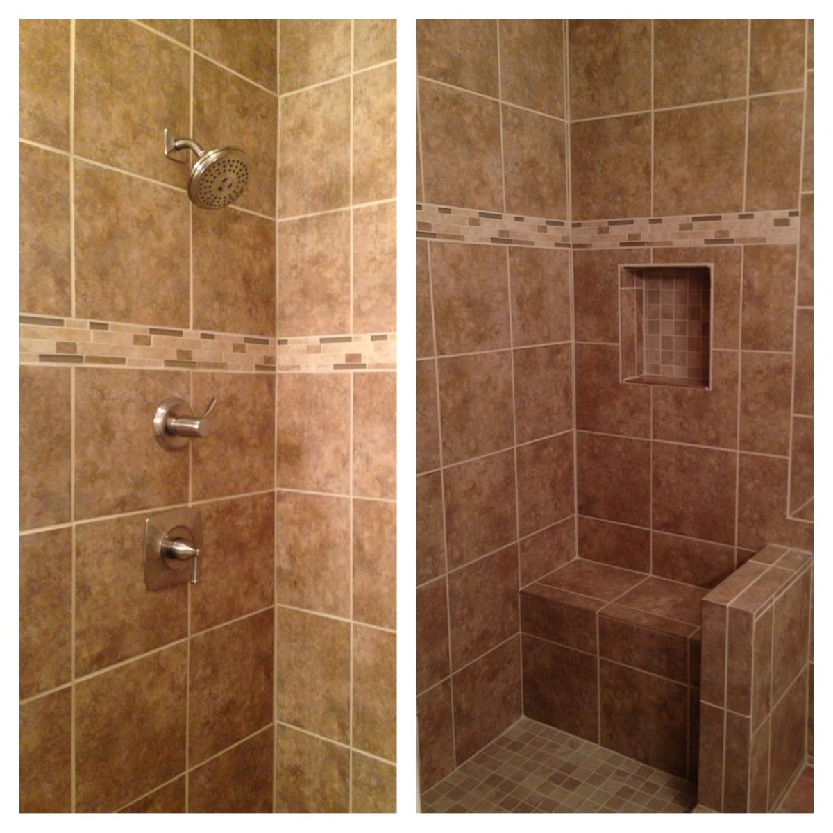 Beige tile shower with bench, I really like the bench ~ although I ...