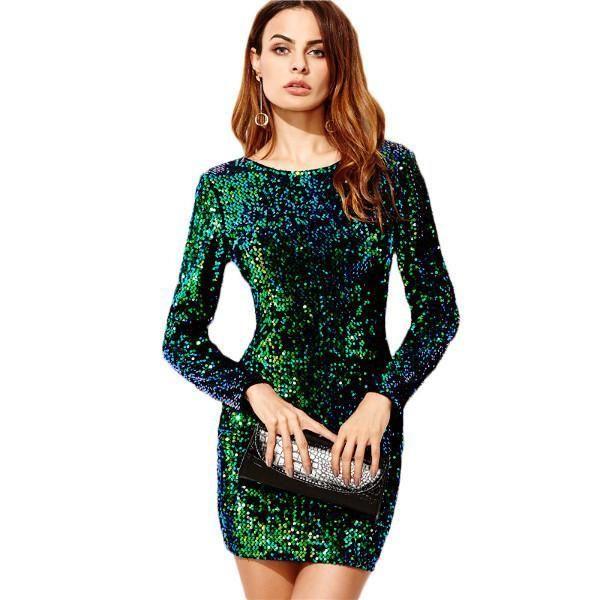 763d97980538c Green Elegant Sexy Sequin Bodycon Dress