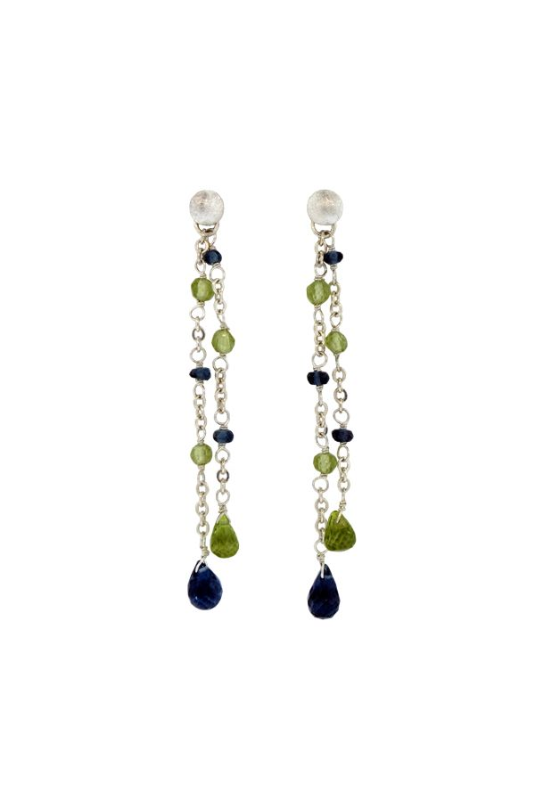 Z5CE-LBT:  Double Chain Earrings on Textured Posts