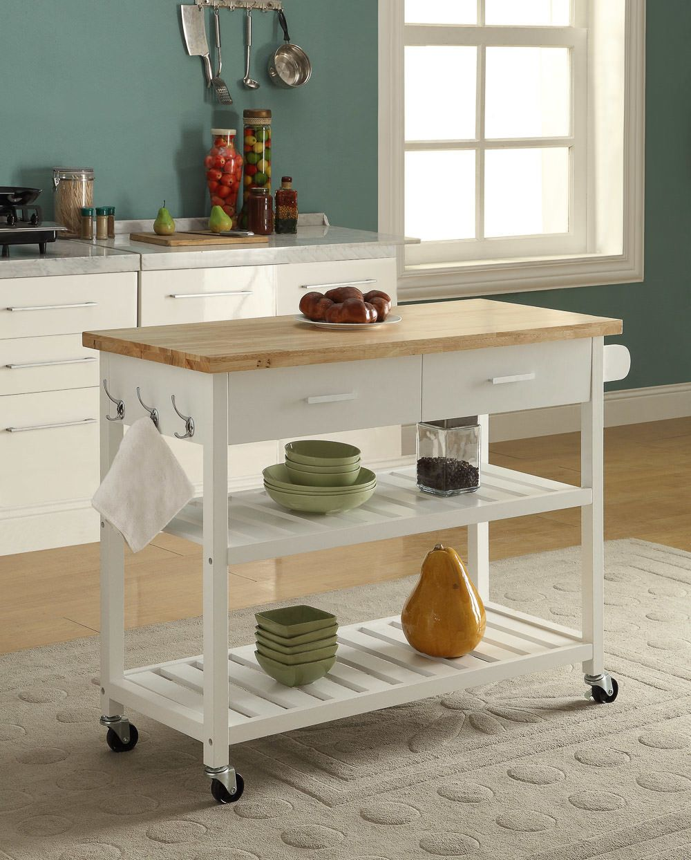 Kitchen Island Trolley - 2 Drawers 2 Tier - White and ...