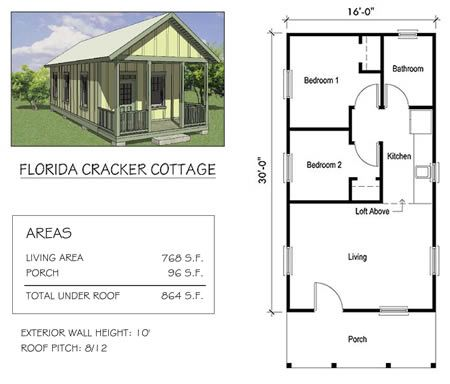 Florida cracker cottage tiny house kit from home front for Small cracker house plans