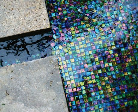 Iridescent Black Glass Tile For Tiled Water Feature Glass Pool