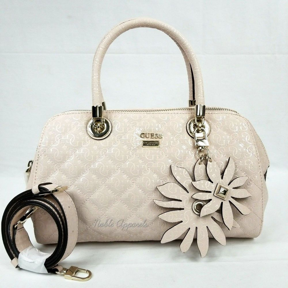 Guess Jordyn Quilted Satchel Handbag Purse Cameo Pink 190231005193