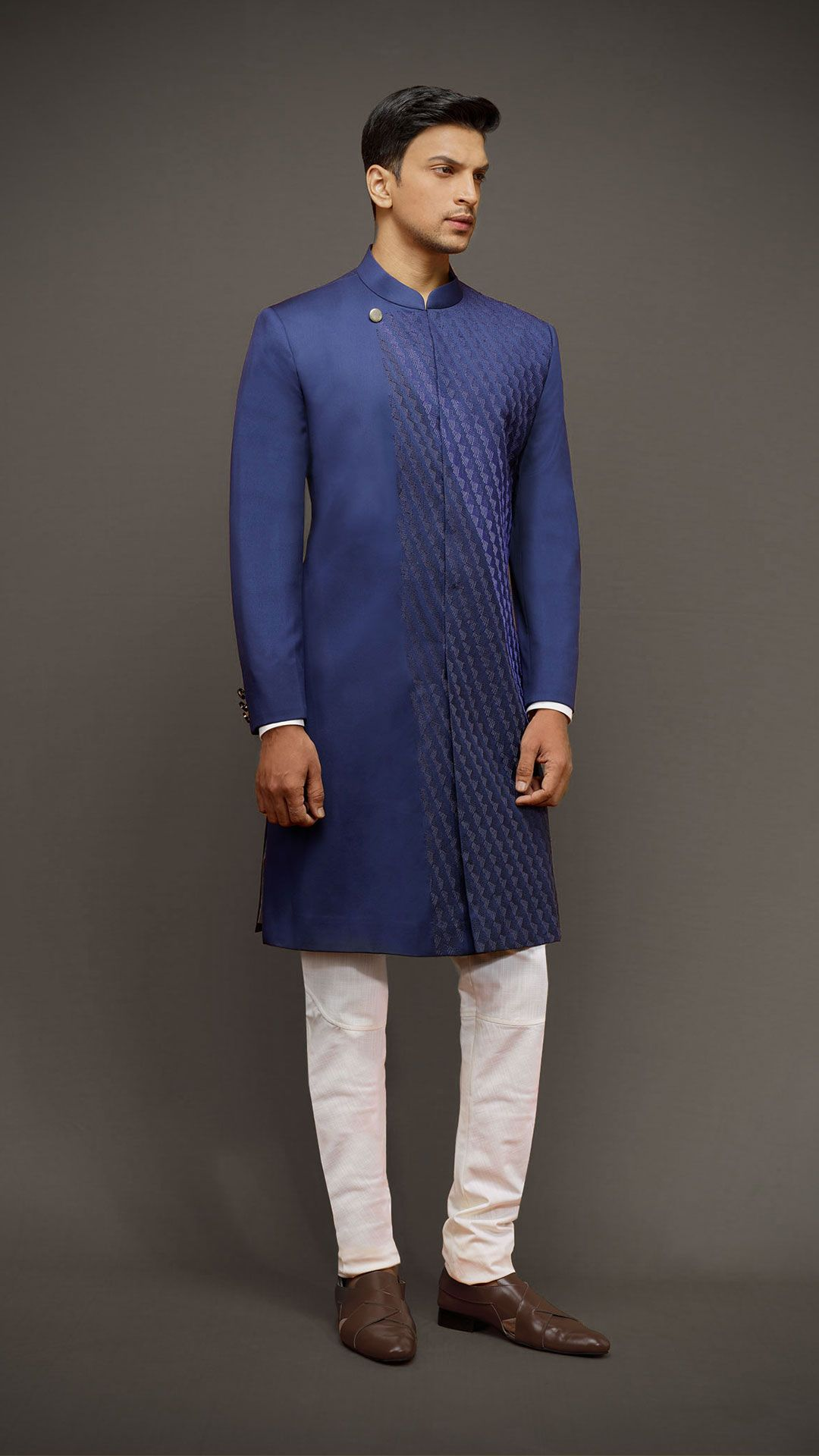 Cobalt blue embroidered sherwaani ss homme indo western