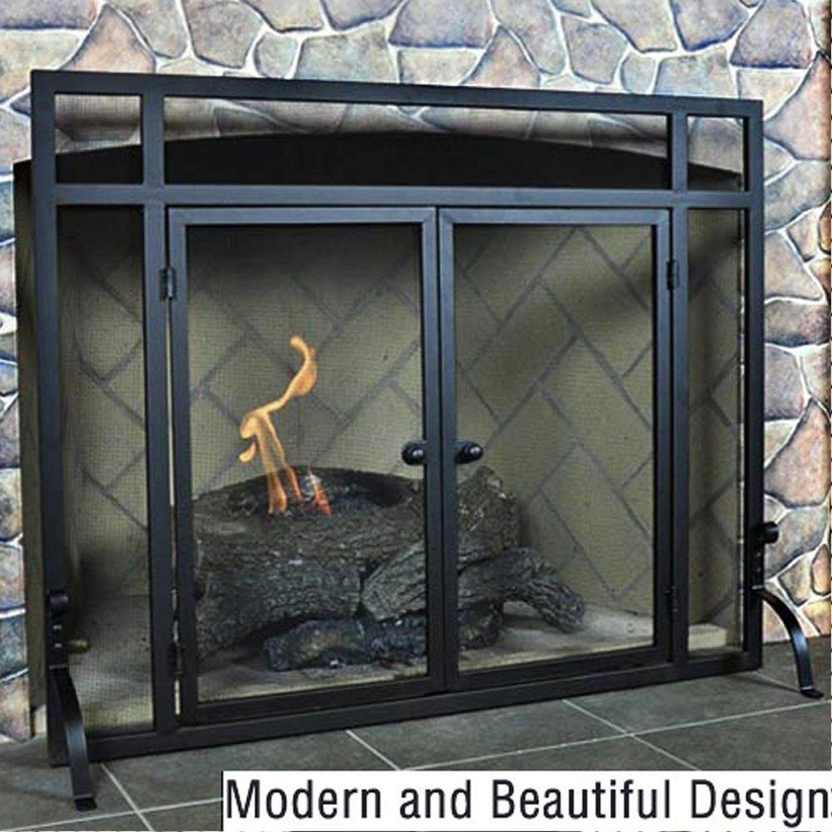 Amazon Woodeze Single Panel Flat Fireplace Screen With Doors