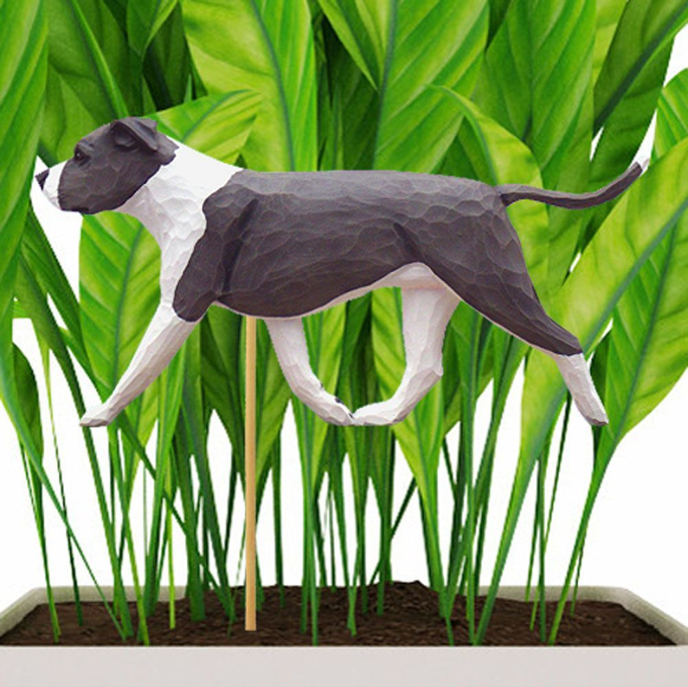American Staffordshire Bull Terrier Planter Stake Blue White