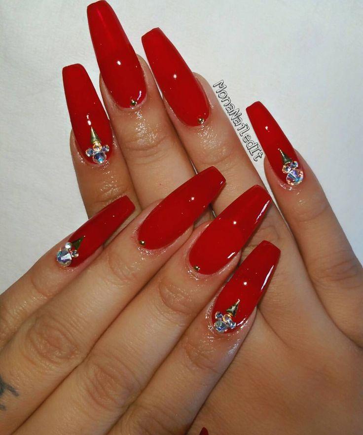 Image Result For Matter Cherry Red Nails Glitzernagel Fingernagel Design Rot Lange Rote Nagel