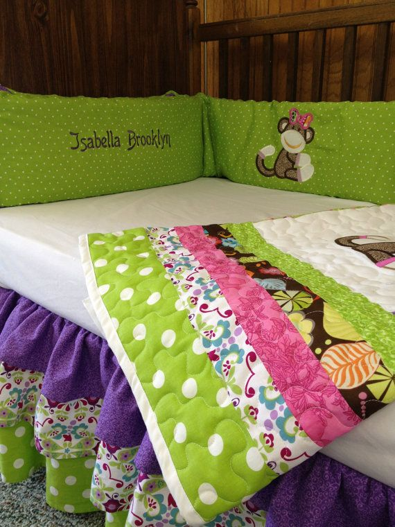 lime green purple pink brown and white sock monkey crib set for