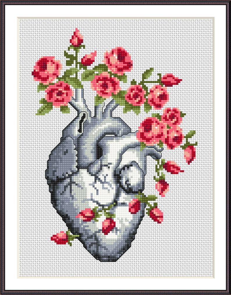 Photo of SET 2 Anatomical cross stitch pattern, Floral Anatomical Cross Stitch Pattern Pdf, Medical Needlepoint, Human Heart & Brain cross stitch