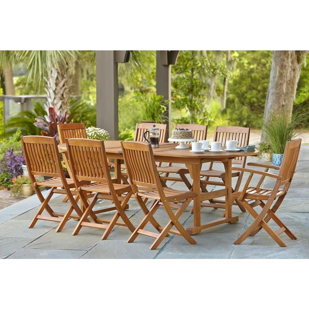 Resistant rattan effect outdoor patio dining set with round table - Find This Pin And More On Outdoor Hampton Bay Adelaide Eucalyptus Patio Dining Set Set