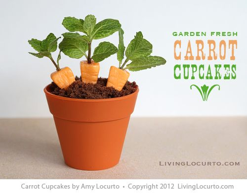 how ADORABLE! Carrot Cupcakes - an Edible Craft Idea by @Amy Lyons Locurto | LivingLocurto.com @Amy Lyons Lyons Locurto