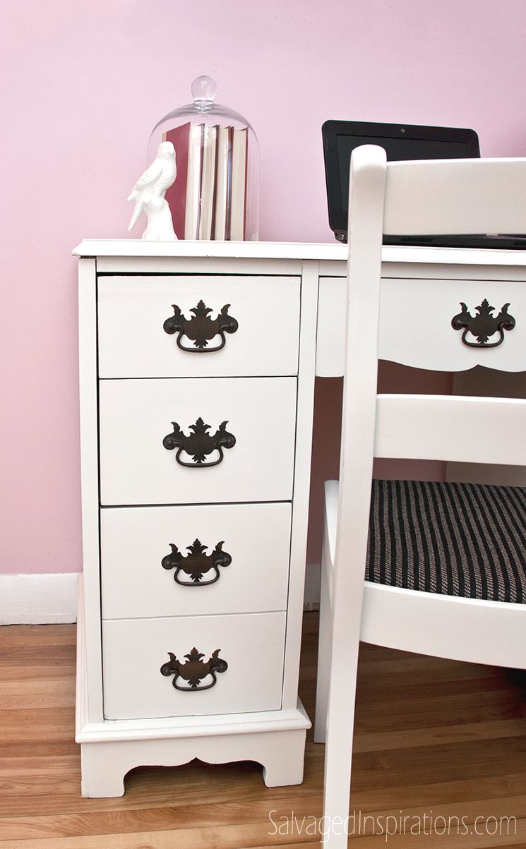 Salvaged Inspirations Vintage Chippendale Pulls On White Painted Desk