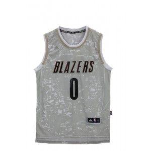 e4bf15c6e Mens Portland Trail Blazers Damian Lillard Number 0 Luminous Jersey Grey  http   www