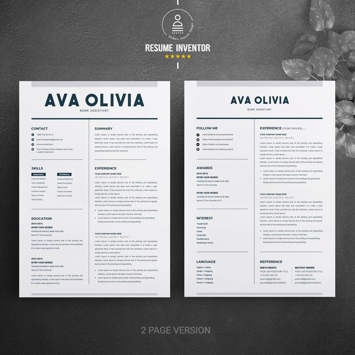 Ava oliva bank finance resume template 70838 with
