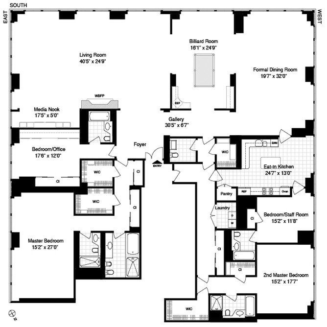 One57 Penthouses Floor Plan | Derek Jeter Trump World Tower Penthouse Floor Plan Home Ideas