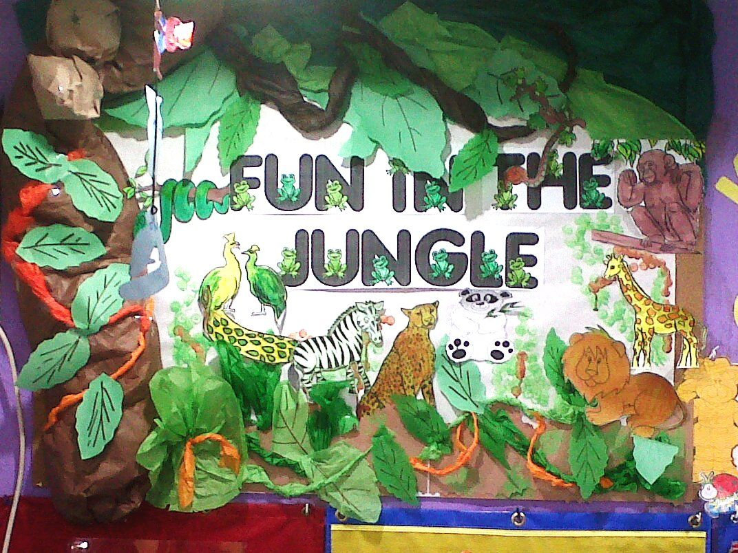 Classroom Decor Animals : My kindergarten bulletin board theme for the month wild