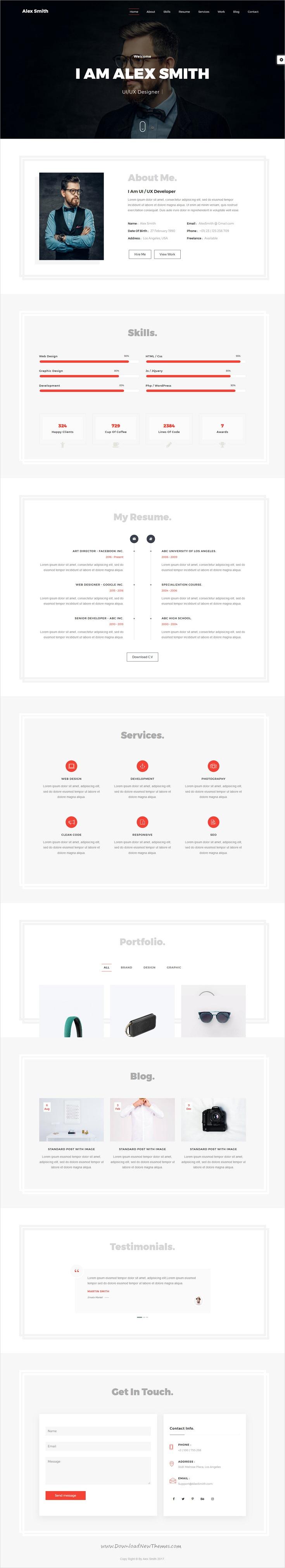 Alex - vCard Personal Portfolio | Personal portfolio, Template and ...