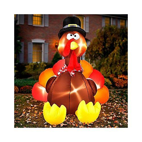 6 Ft Tall Large Lighted Blow Up Airblown Inflatable Turkey W