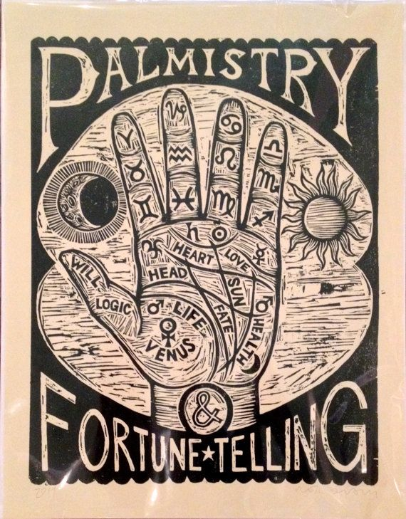 Occult Art Palm Reading Chart Woodcut Print Hand Printed