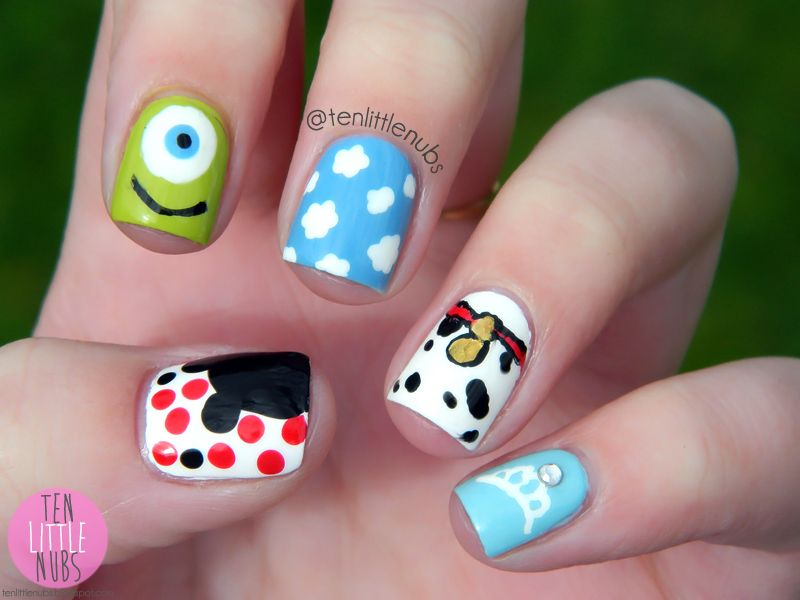 Disney Movies Themed Nail Art Designs Plain Nails