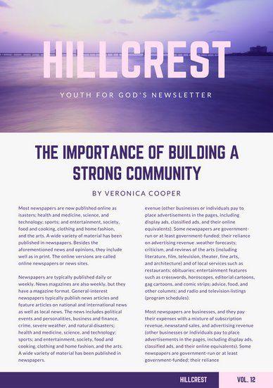 Purple Gradient Church Newsletter