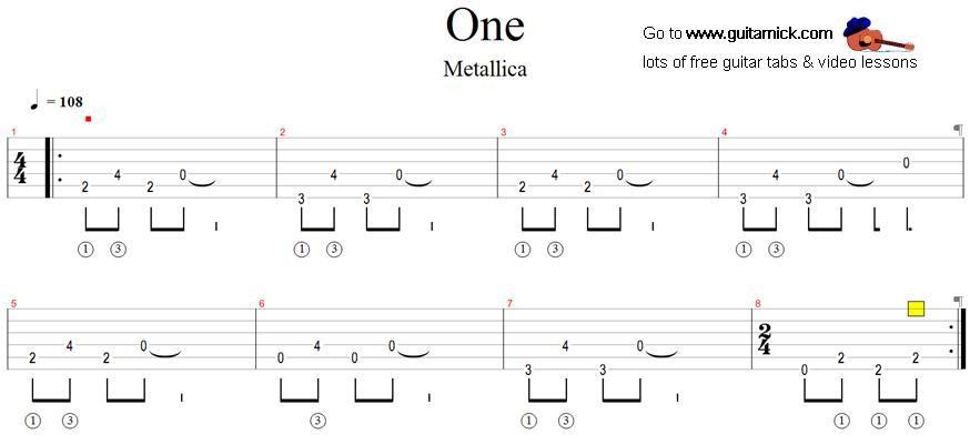 One Metallica Guitar Tab Guitar Lessons Pinterest