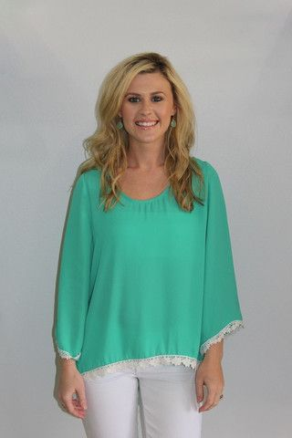 Green Top with Crochet Trim {$32}