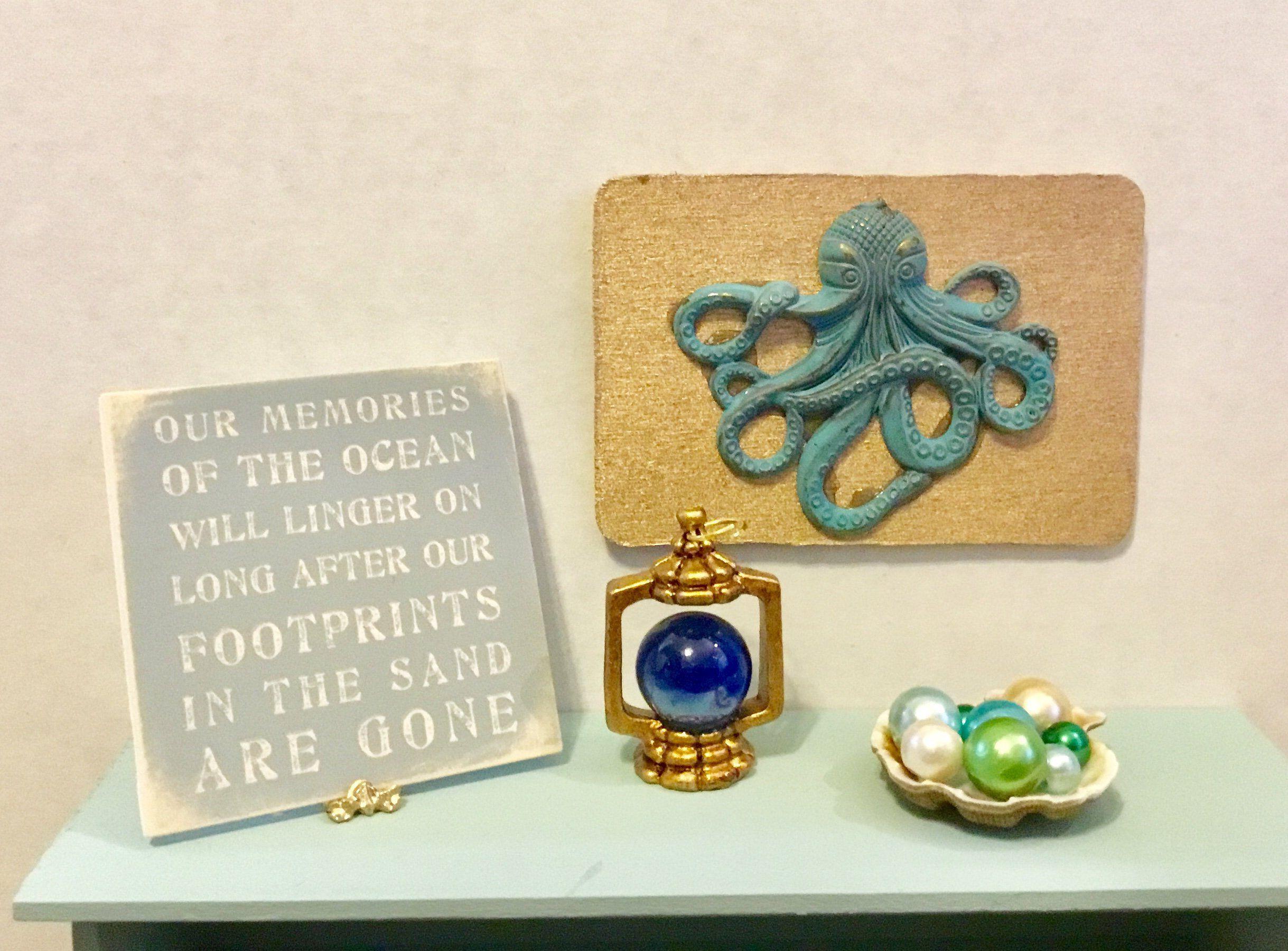 Dollhouse miniature octopus wall art blue lantern memories of the