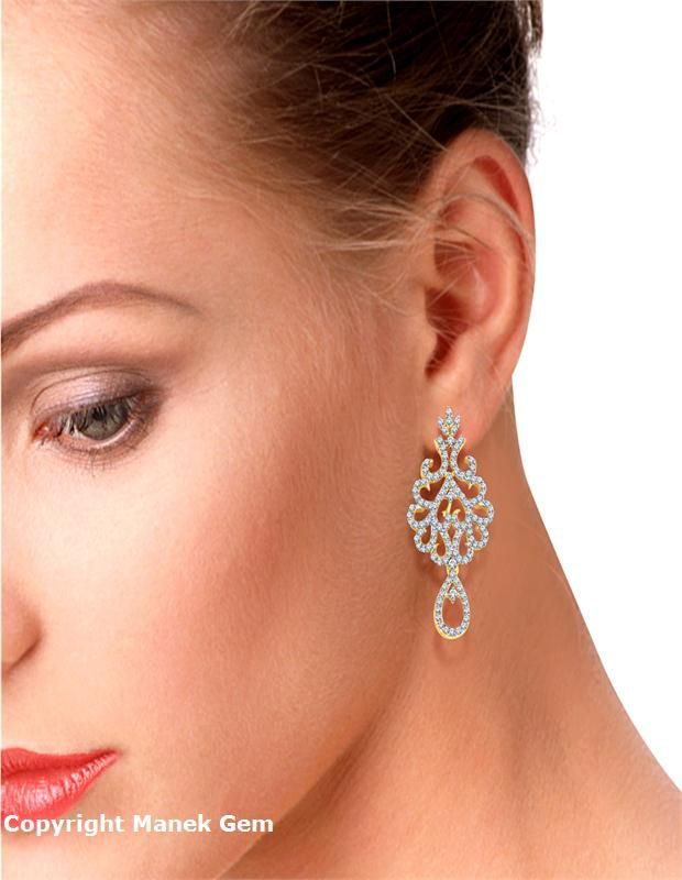 Floral Diamond Earrings | diamonds4you.com An aura of contemporary styling, the floral diamond earrings have beaten gold layer lined up with round cut diamonds in pave setting which adds a twist to a clasic look.! - See more at: http://diamonds4you.com/item/234.aspx#sthash.lPMNIObp.dpuf