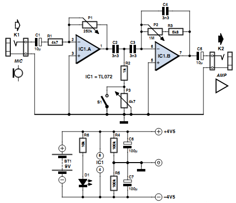 Vocal Adaptor for Bass Guitar Amp Circuit Diagram