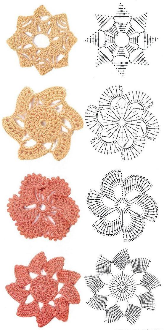 Share Knit And Crochet Crochet Flowers Diagram 1 Lace Pinterest