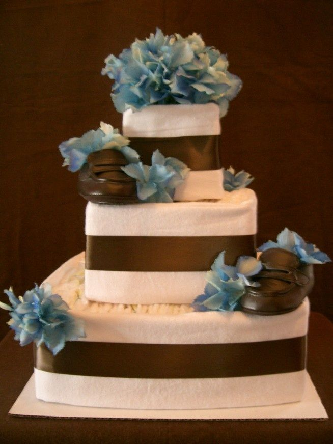 Square Diaper Cakes Blue Brown Square Diaper Cake Upscale