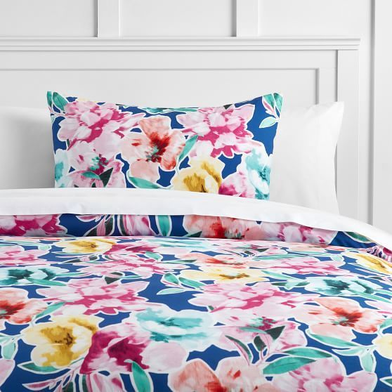 Watercolor Blooms Reversible Duvet Cover Full Queen Bright Blue Bed Linen Design Duvet Bedding Cool Beds