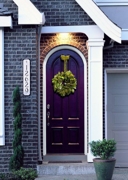 Picturesque Front Door Decor Idea with Black Bricks Wall Pattern Feat Nice Violet Door Paint Also Wraith Decor - Home Decor