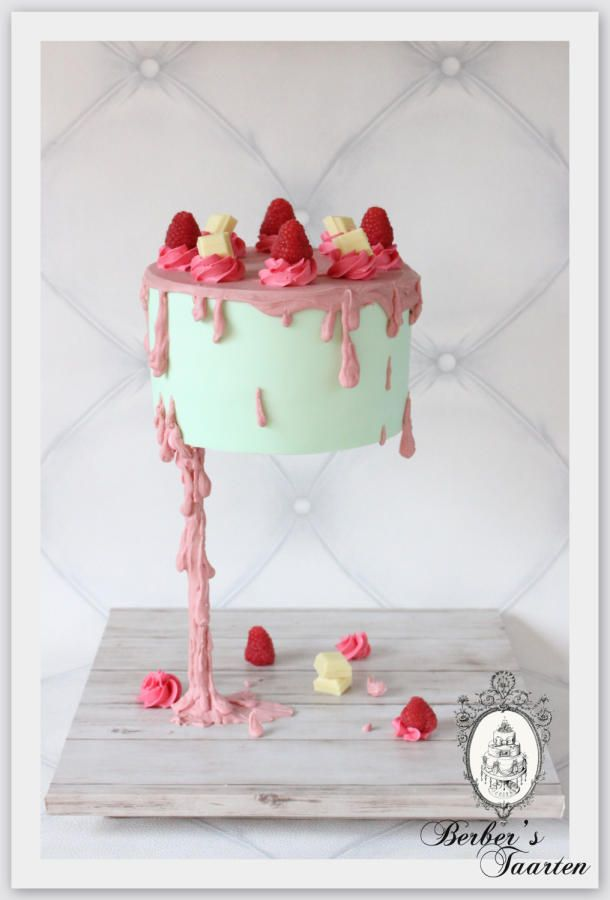 Gravity defying cake drizzled chocolate. by Berber's Taarten #gravitycake