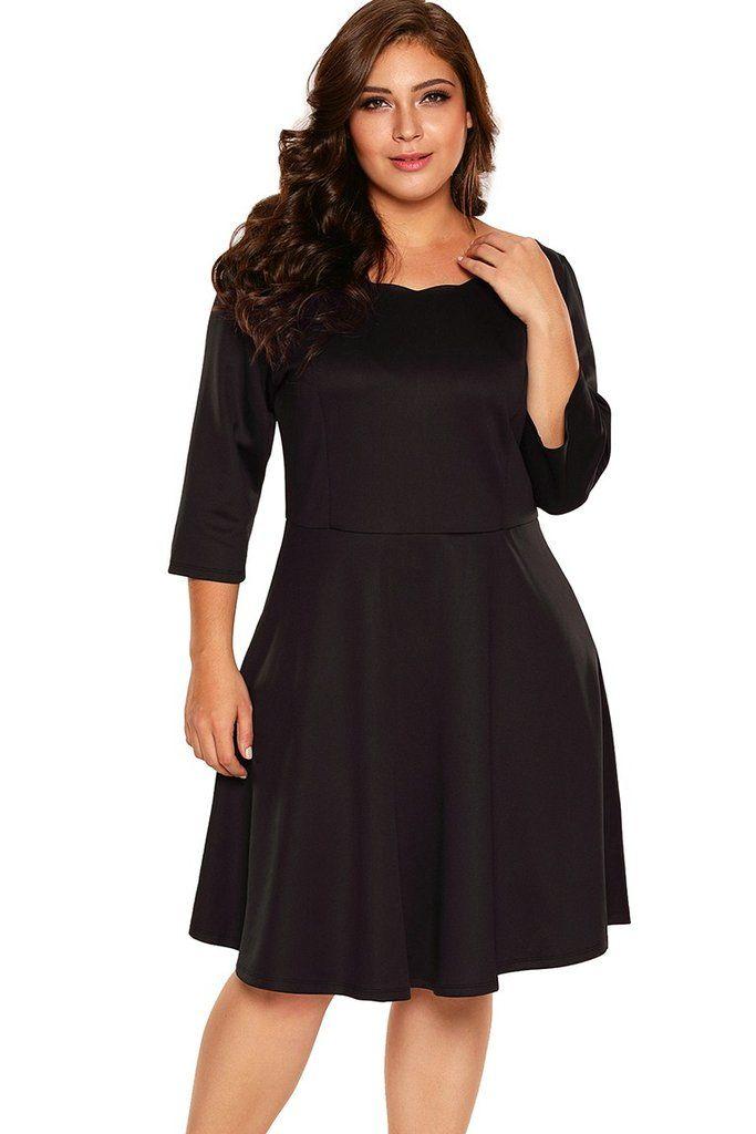 Black Scalloped Neckline 34 Sleeve Plus Size Skater Dress New In