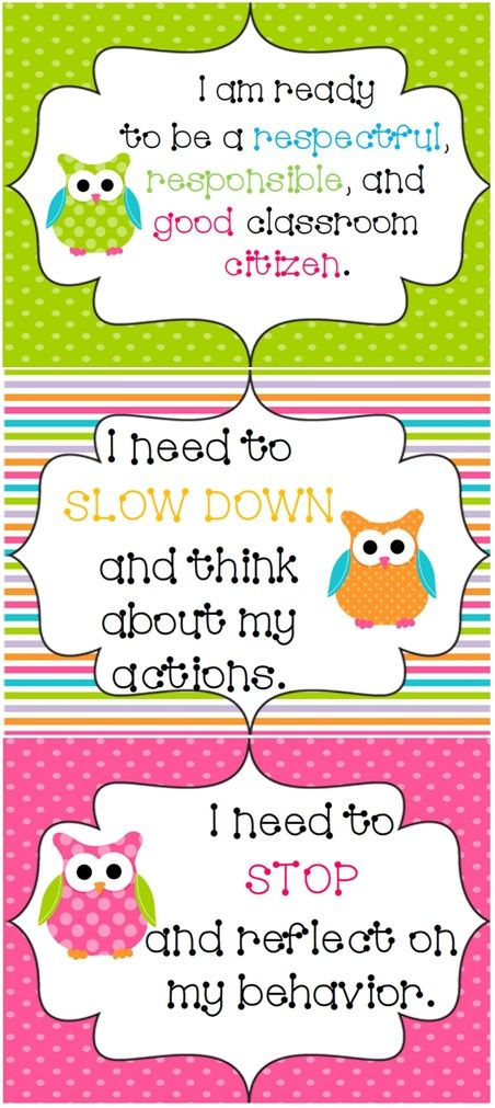 Owl and Polka Dot Design Behavior System Behavior clip charts - behavior log examples