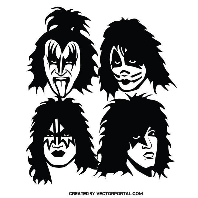 Music Band Kiss Vector Illustration Kiss Rock Bands Silhouette Art Kiss Band