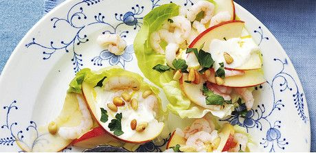 Shrimp cocktail with apple. A unique and tangy Thanksgiving appetizer idea.